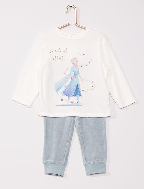 Pyjama long velours la 'Reine des Neiges'                                         blanc/bleu