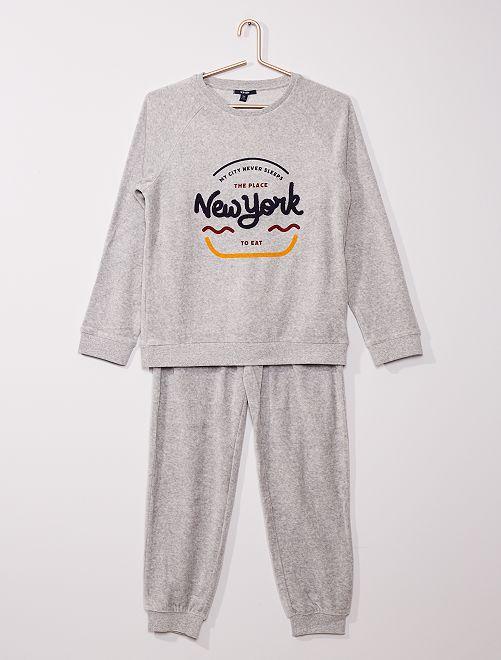 Pyjama long velours' 'New York'                             gris