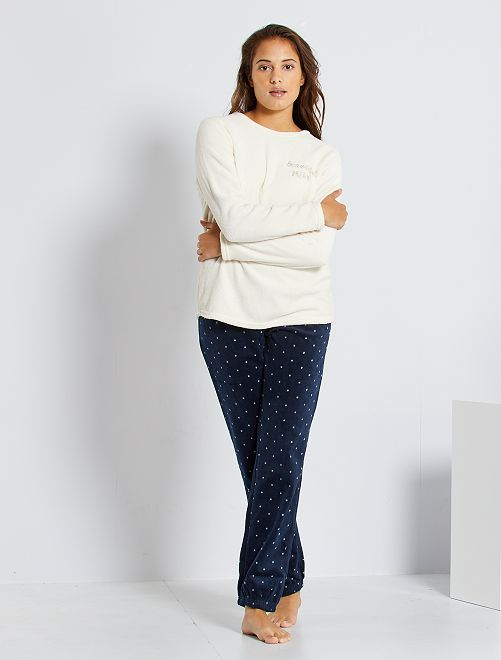 Pyjama maille peluche                                                                 écru/marine