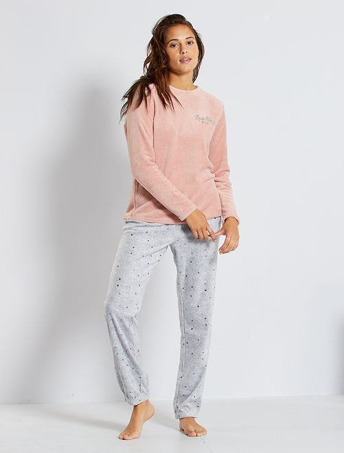 Pyjama maille peluche                                                                 rose/gris