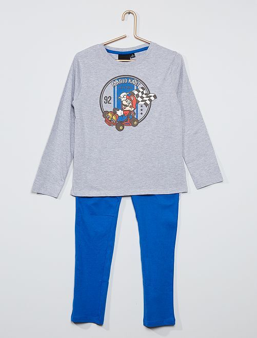 Pyjama 'Mario Kart'                             gris/bleu
