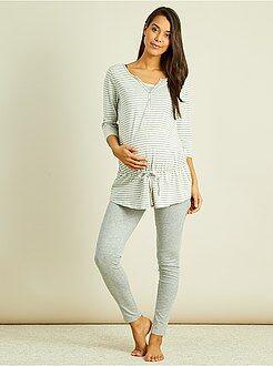 Allaitement, grossesse - Pyjama maternité brassière d'allaitement intégrée - Kiabi