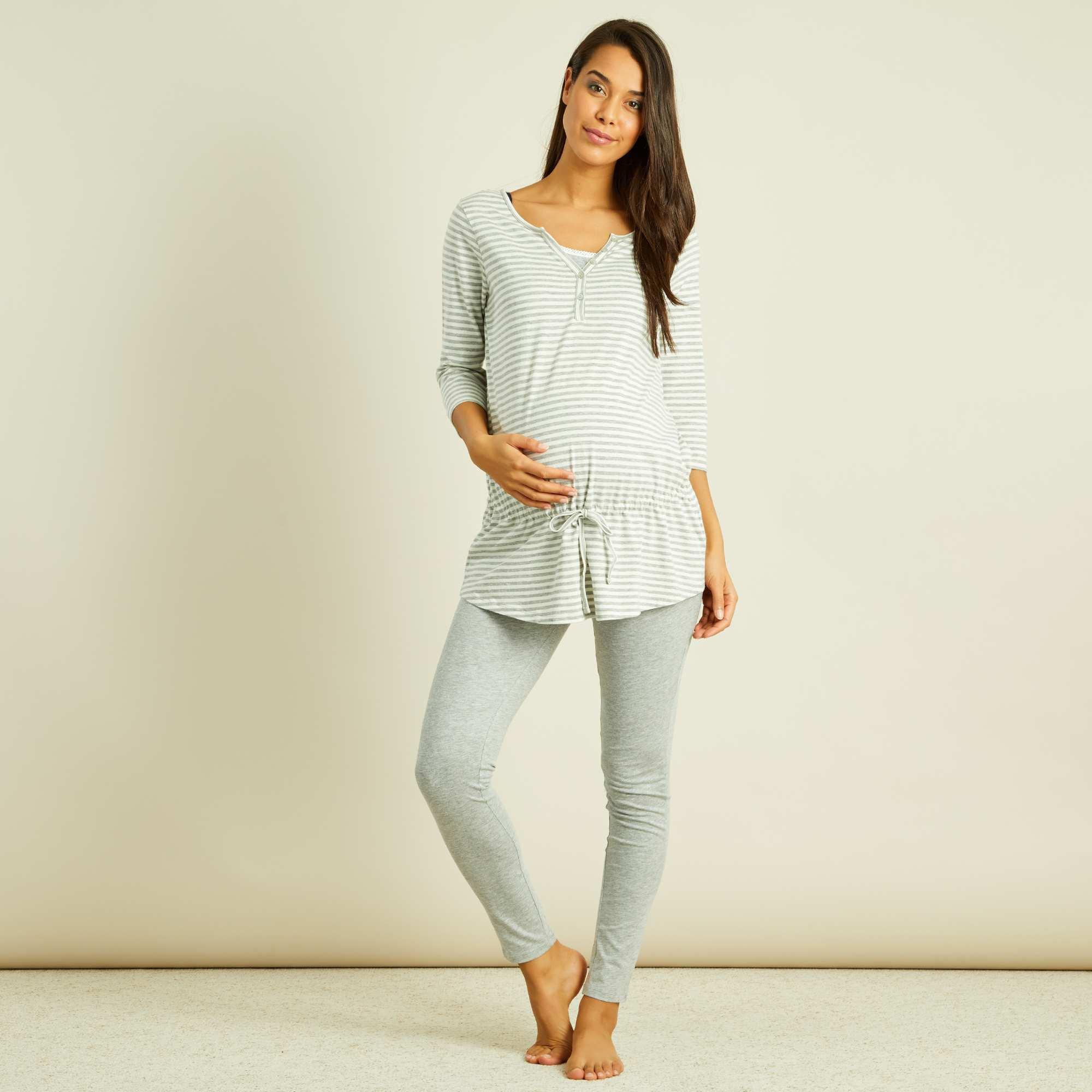 Couleur : gris clair chiné, , ,, - Taille : XL, M, S,L,Le pyjama pratique et tout confort qui vous accompagne pendant et après la grossesse !