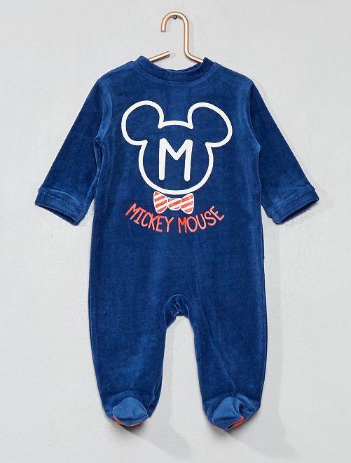 Pyjama 'Mickey' en velours                                         bleu marine Bébé garçon