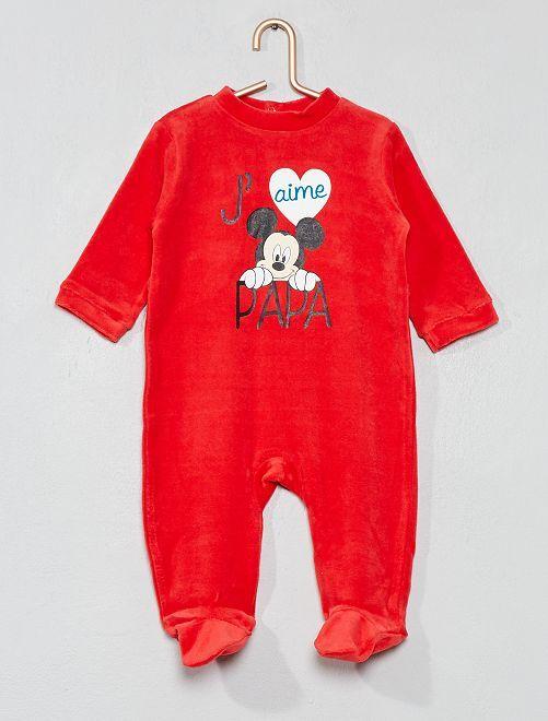 Pyjama 'Mickey' en velours                                         rouge Bébé garçon