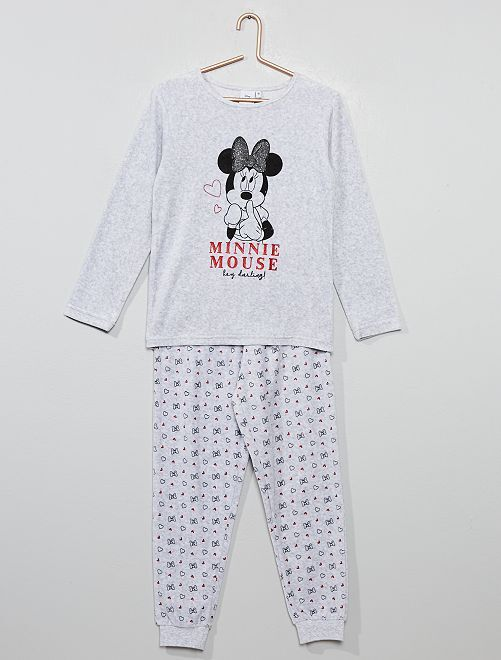 Pyjama 'Minnie' en velours                             gris chiné