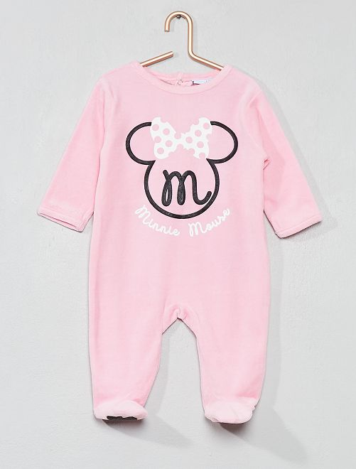 Pyjama 'Minnie' en velours                                         rose