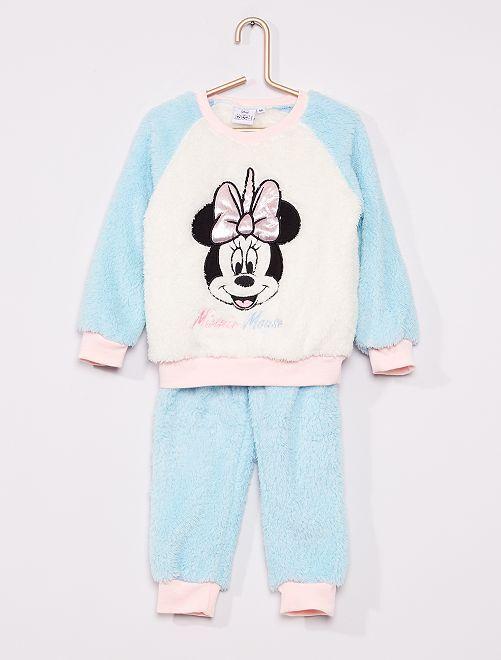 Pyjama 'Minnie' maille peluche                                         bleu/blanc