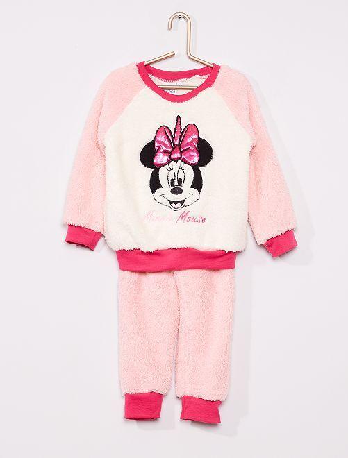 Pyjama 'Minnie' maille peluche                                         rose/blanc