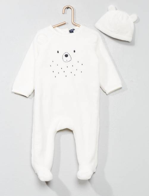 Pyjama ourson + bonnet                                         blanc/rose Bébé garçon