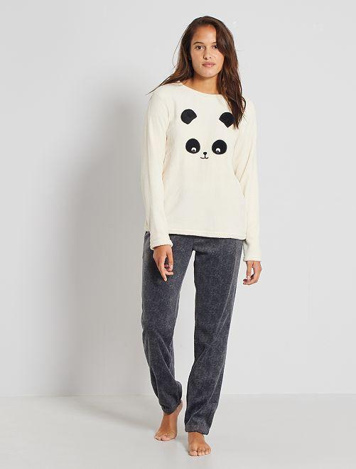 Pyjama 'panda' maille peluche                                                                 écru/gris