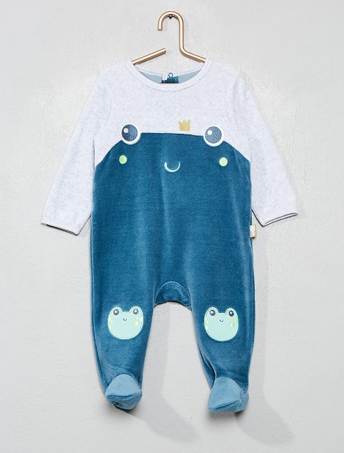 Pyjama 'Petit Béguin' en velours                             bleu/gris