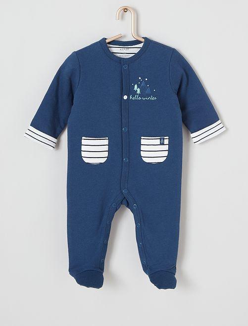 Pyjama poches rayées                             bleu
