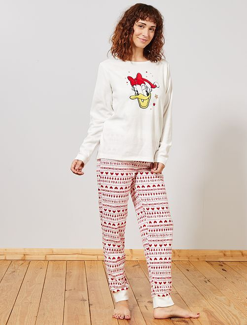 Pyjama polaire de noël 'Daisy'                                                                 écru/rouge