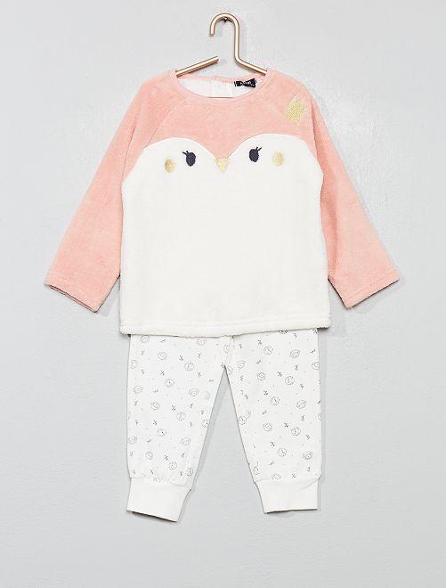 Pyjama polaire et jersey                                         rose Bébé fille