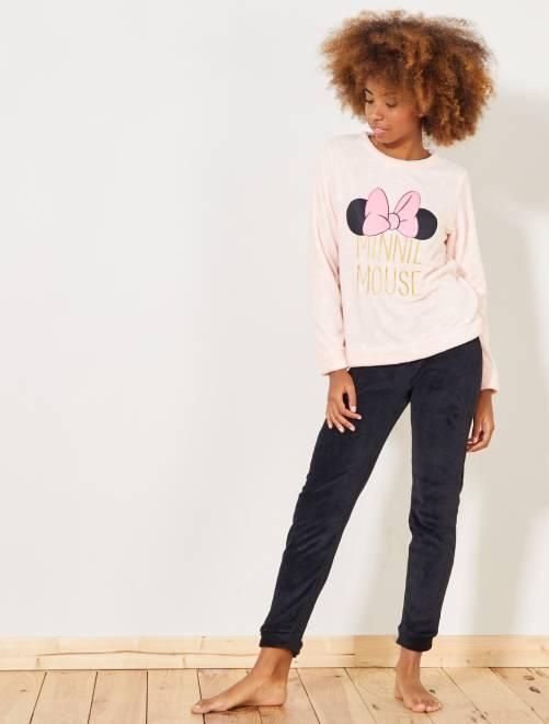 Pyjama polaire 'Minnie Mouse'                     rose/noir Lingerie du s au xxl