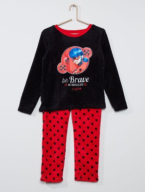 Pyjama polaire 'Miraculous'                                         noir/rouge