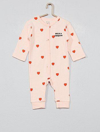 21192b17e8e03 Fille 0-36 mois - Pyjama pur coton  cœur  - Kiabi