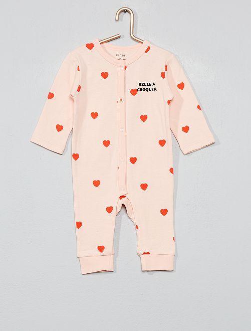 Pyjama pur coton 'cœur'                             rose Bébé fille