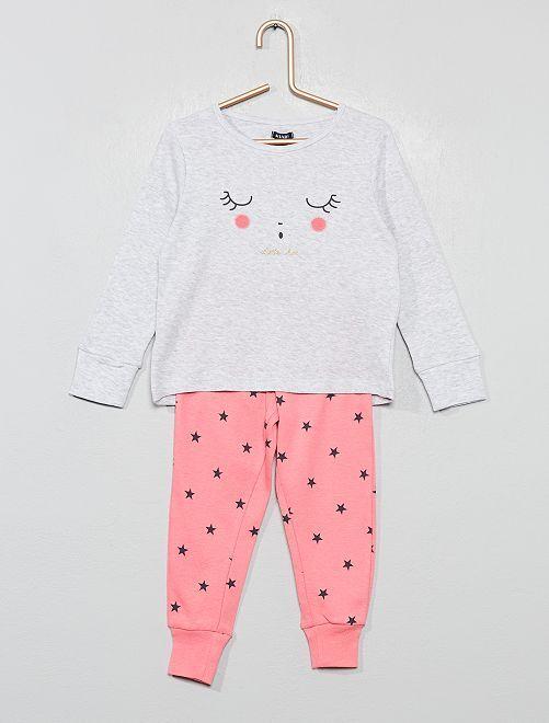 Pyjama pur coton                                                                 gris/rose