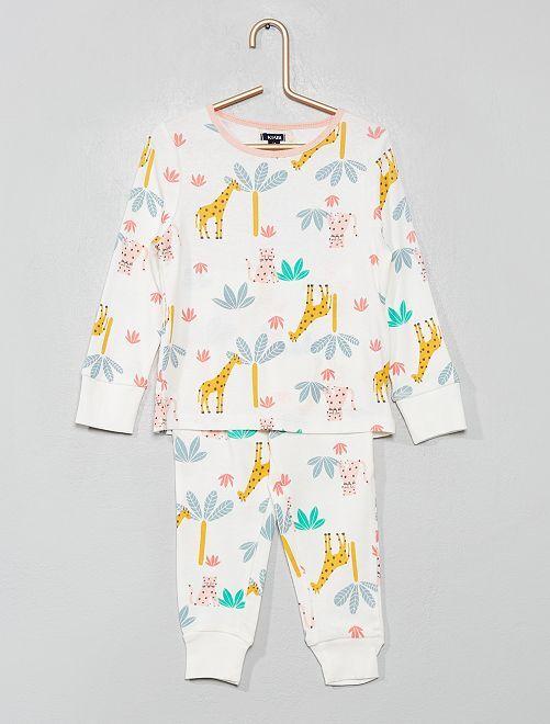 Pyjama pur coton 'licorne'                                                                                                     blanc/jungle