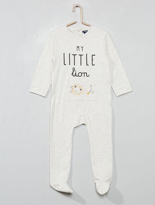 Pyjama pur coton 'lion'                                         gris Bébé garçon