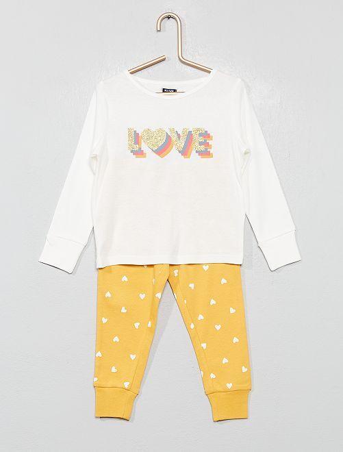 Pyjama pur coton 'love'                                                                             écru love