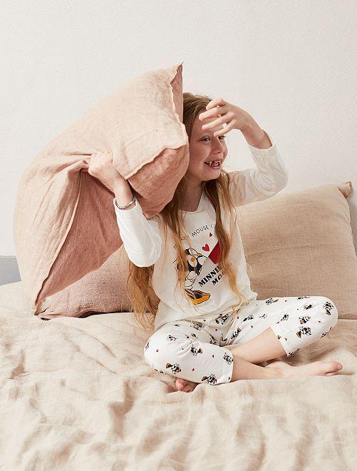 Pyjama pur coton 'Minnie Mouse'                     blanc Fille