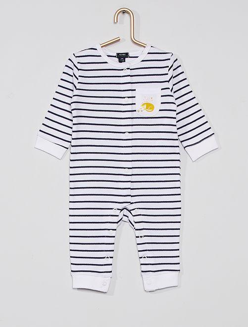 Pyjama rayé éco-conçu                             blanc