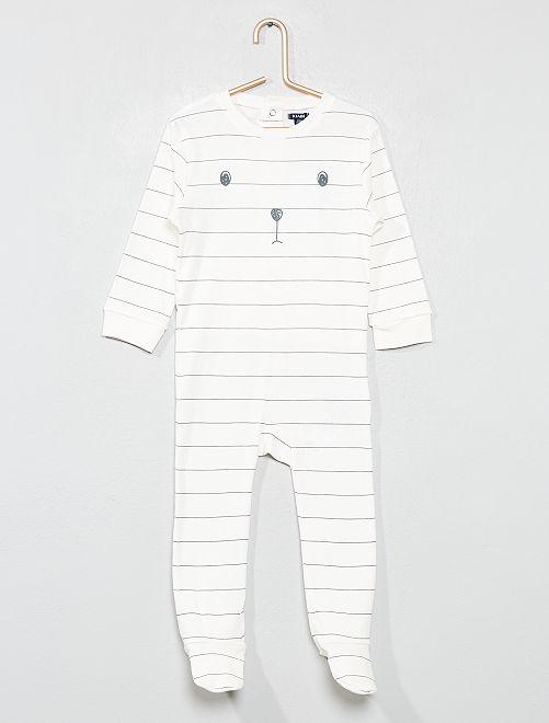 Pyjama rayé 'ours'                             écru Bébé garçon