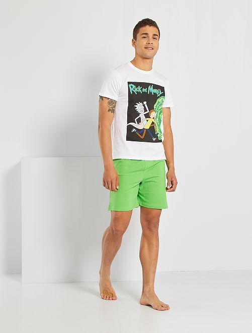 Pyjama 'Rick et Morty'                             blanc/vert
