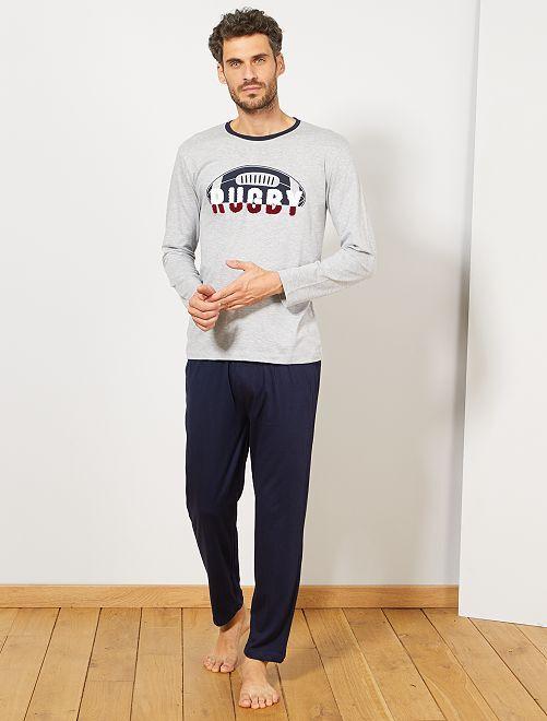 Pyjama 'Rugby'                                         gris/bleu marine