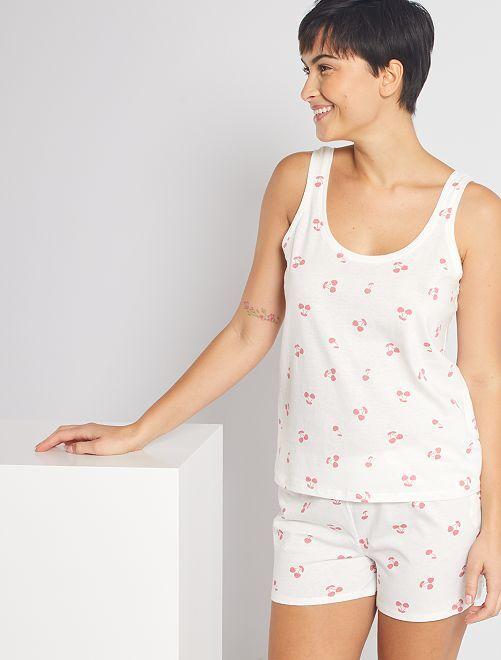 Pyjama short 'cerise'                                                                 blanc