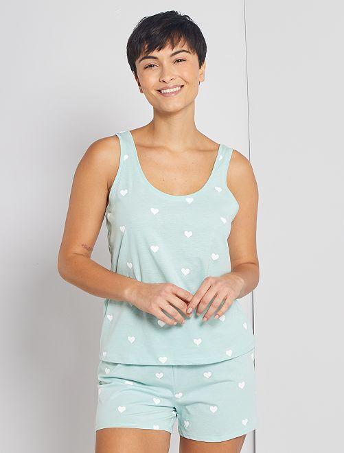 Pyjama short 'coeurs'                                                                 bleu