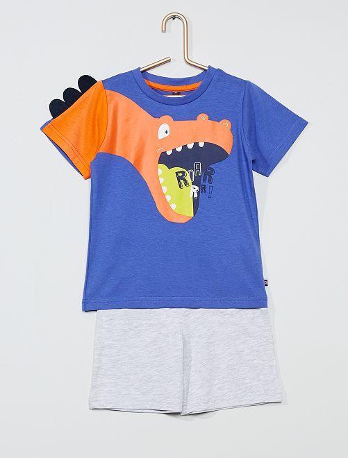 Pyjama short 'Dinosaure'                             bleu/gris