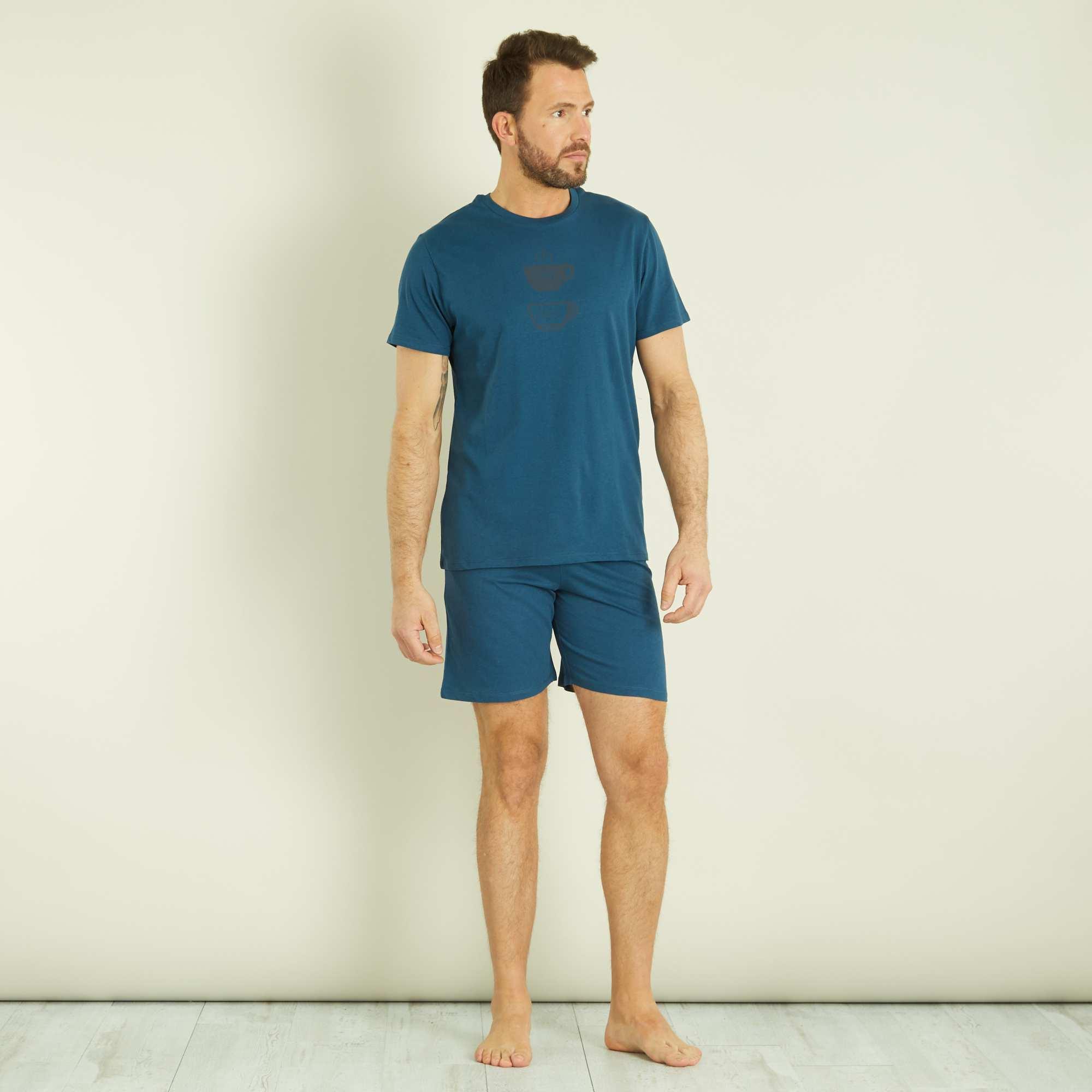 pyjama short en coton homme bleu canard kiabi 7 00. Black Bedroom Furniture Sets. Home Design Ideas
