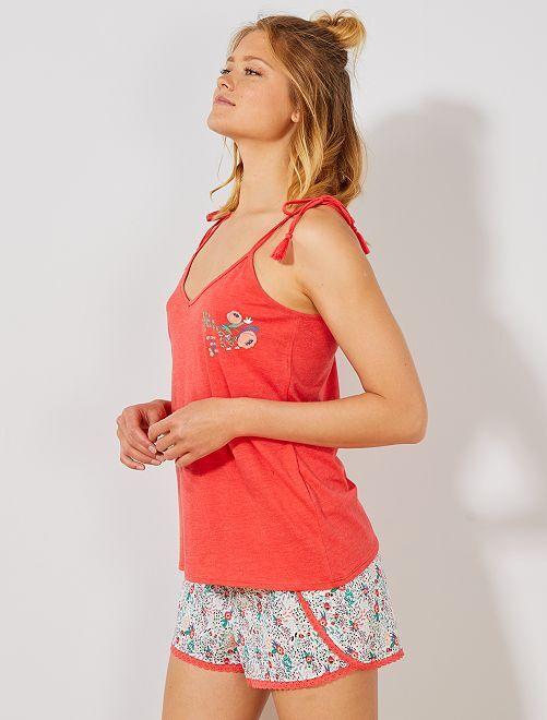 Pyjama short fleuri                                         rouge/blanc Lingerie du s au xxl