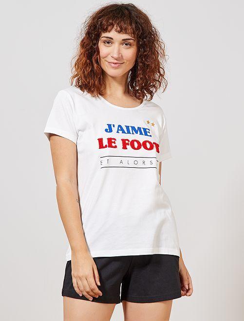 Pyjama short 'Foot'                             noir/blanc