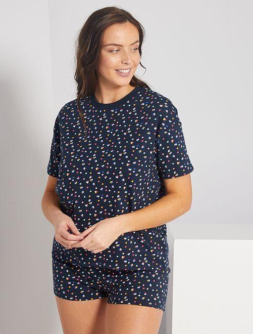 Pyjama short imprimé                                                                 marine