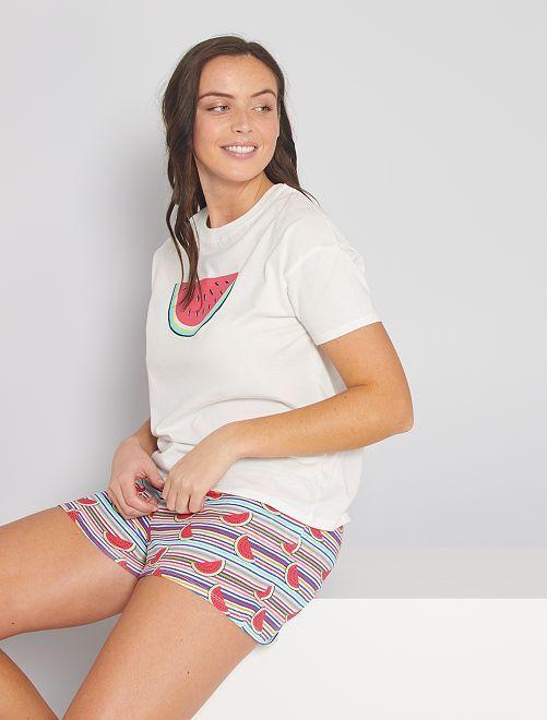 Pyjama short jersey                                                                 écru/rayé