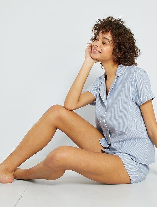 Pyjama short rayé                                         bleu