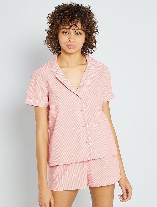 Pyjama short rayé                                         rose