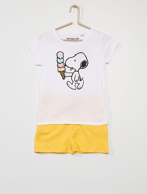 Pyjama short 'Snoopy'                             rose/jaune