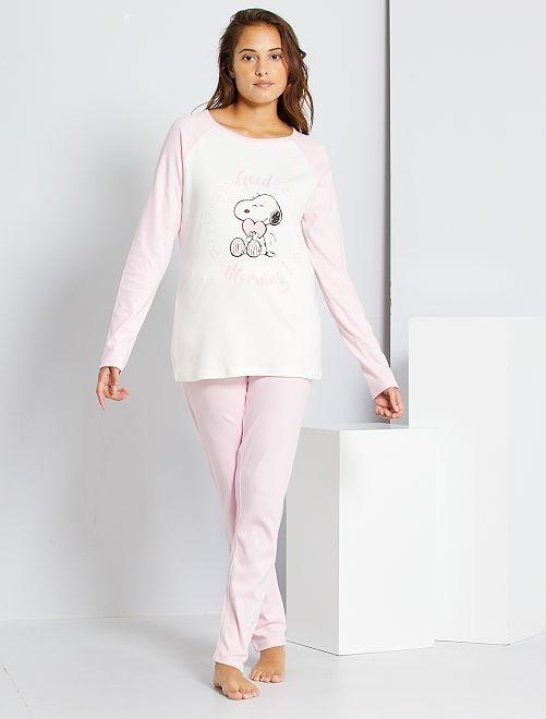 Pyjama 'Snoopy'                                         rose/blanc