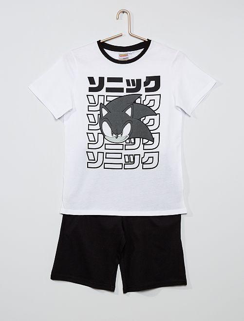 Pyjama 'Sonic'                             blanc/noir