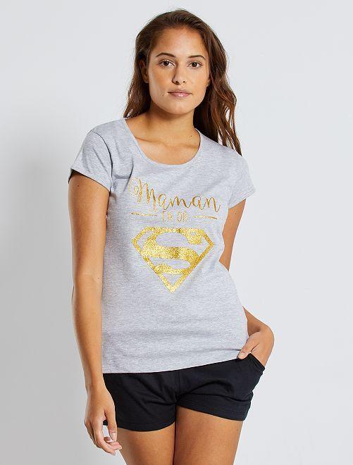 Pyjama 'Supergirl'                             noir Lingerie du s au xxl