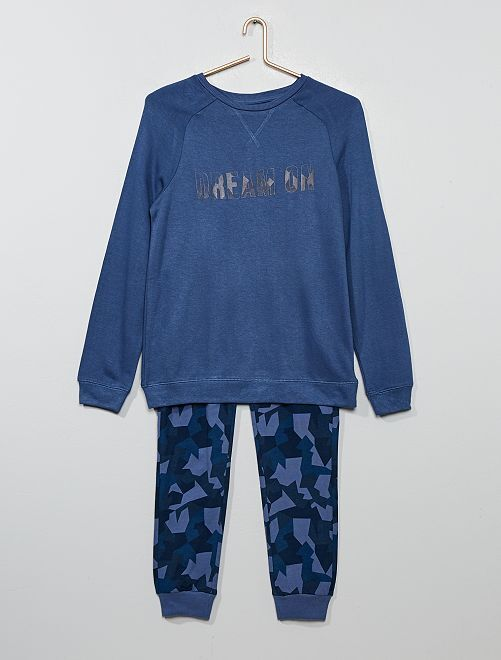 Pyjama sweat + pantalon jersey                                         bleu