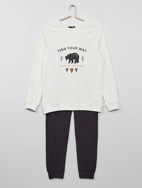 Pyjama sweat + pantalon jersey                                         gris