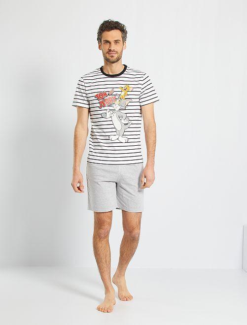 Pyjama 'Tom & Jerry'                             blanc/gris