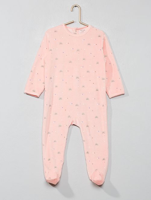 Pyjama velours 'arc-en-ciel'                             rose Bébé fille